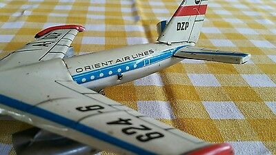 Vintage Jet Tin Toy Friction A-Dzp 624-6 Orient Airlines Air Plane Germany