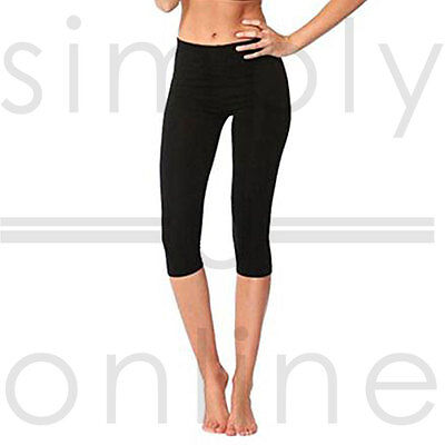 Black 3/4 Length Cotton Lycra Stretch Short Cropped Leggings Summer (UK 6-14)