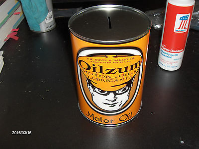 """Vintage Style Metal Oilzum Quart Oil Can Coin Bank.."""":Look"""""""