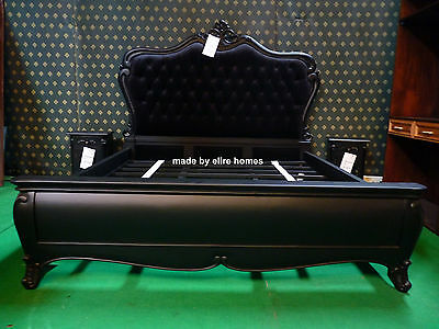 6' Super King Size Black Gothic carved mahogany designer French Baroque bed