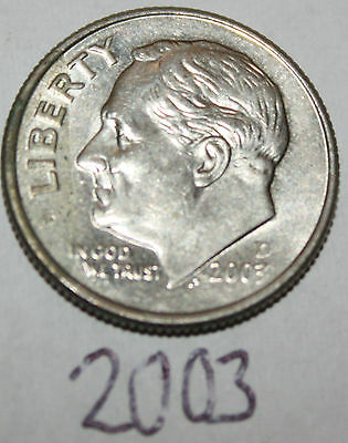 2003 D United States of America Ten Cents 10c Roosevelt Dime Coin, American U.S.