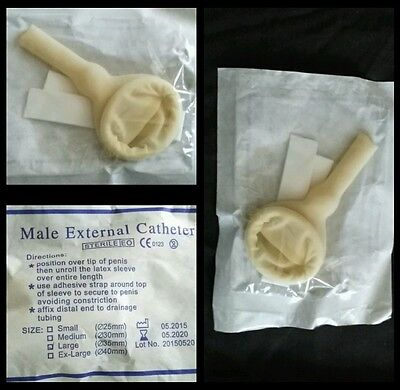 One Male External Latex Catheter Condom style-Size L (35 mm)+Self-Adhering strip