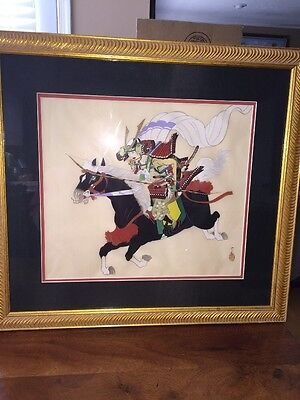 Oriental Japanese Samurai Horseback Original Painted On Silk Framed Signed (Ch)