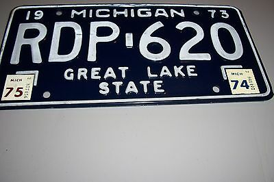 MICHIGAN  RDP-620  1973-74-75 GREAT LAKE STATE   License Plate