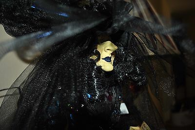 """NEW GORGEOUS WITCH doll Halloween VICTORIAN DRESS BOOK Potion Spells 25"""" Feather"""