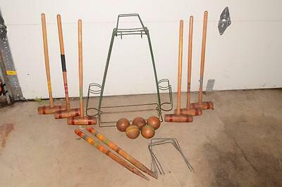 Vtg/Antique YARD GAME Metal Stand CROQUET SET Wood 6 PLAYERS Balls MALLETS Wire