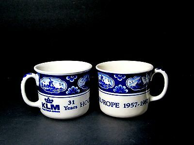 2 - Delft Blue (Klm - Houston * Europe - 31 Years) Cups