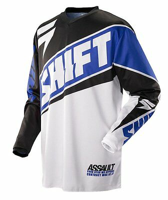 Shift MX Mens Assault Jersey - Race Blue/White Motocross offroad trail enduro