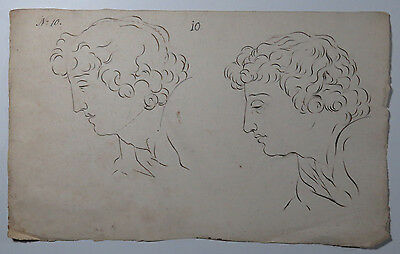 Antique Ink Drawing Study of a Man's Face, Circa 18th Century, Watermarked