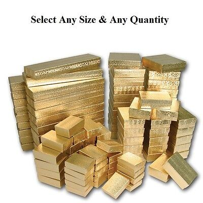 LOT of 20~50~100~500Pcs GOLD JEWELRY BOXES GOLD COTTON FILLED BOXES GIFT BOXES