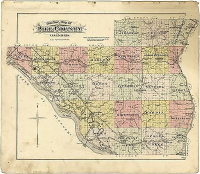 1895 PIKE COUNTY plat maps atlas old GENEALOGY ILLINOIS history Land P94