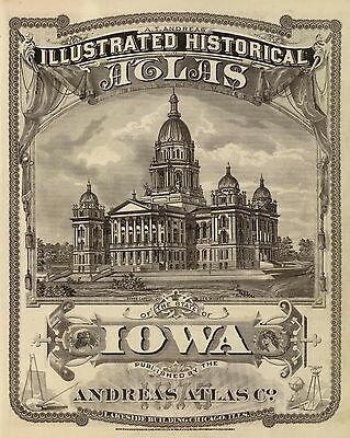 1875 ILLUSTRATED HISTORICAL ATLAS IOWA STATE 216 maps Andreas  DVD A45