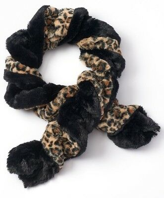 *NEW Girls Soft Cozy Leopard Print Faux Fur Twisted Oblong Winter Scarf