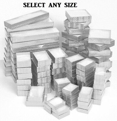 LOT of 20~50~100~500Pcs SILVER JEWELRY BOXES w/CLEAR LID COTTON FILLED BOXES