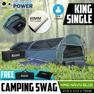 Deluxe KING SINGLE Outdoor Camping Canvas Swag Aluminium Poles Tent