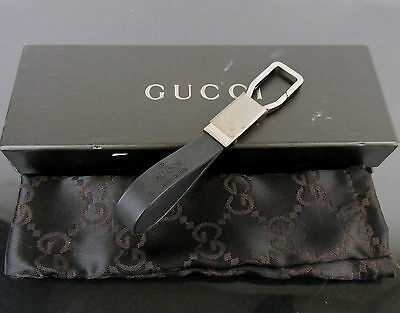 Authentic Gucci Silvertone Hw & Rubber Key Holder Key Ring + Box Made In Italy