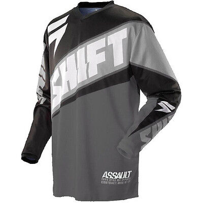 Shift MX Mens Assault Jersey - Race Grey Motocross offroad trail enduro