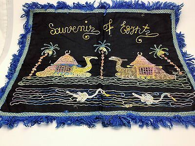 Vintage Souvenir of Egypt Table or Pillow Cover Camels, Swans, Palm Trees
