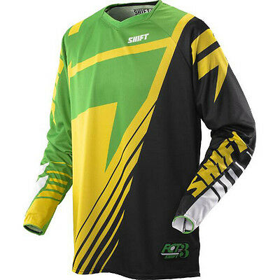 Shift MX Mens Faction Jersey - Satellite Yellow/Green motocross offroad trail en