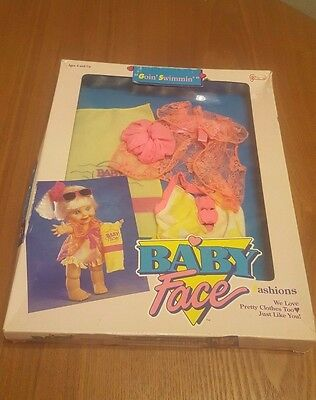 "90s Baby Face by Galoob ""Goin' Swimmin'"" Fashion - Damaged Box - Doll Outfit"