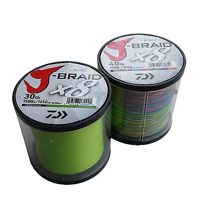 DAIWA J-BRAID 8ply 1500m BULK SPOOL MULTI OR CHARTRUESE