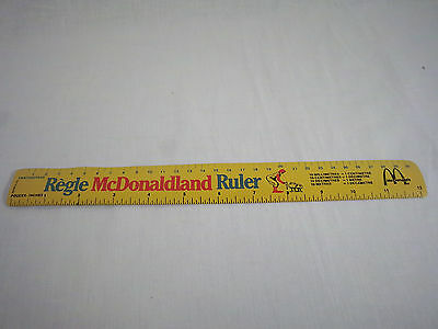 McDonalds McDonaldland  12 inch 30cm ruler ronald mcdonald yellow metal
