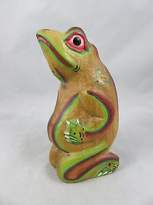 Vintage Frog / Toad Figurine - Wood - Hand Carved / Painted - Folk Art
