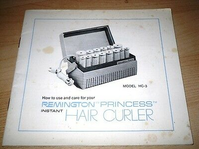 1969 Remington Princess Instant Hair Curler Care And Use Manual Pamphlet Hc-3