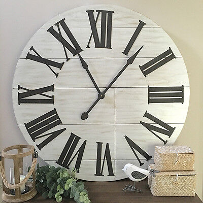 Massive 91cm White Timber Wall Clock/Plank Wood Clock/Hamptons Farmhouse Coastal