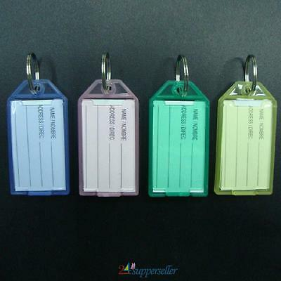 40PCS New Colorful Transparent Plastic Luggage ID Label Key name Tags Keychains
