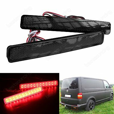 2x 2003-2011 VW T5 Transporter Smoked Black Lens Rear Bumper Reflector LED Light