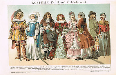 Kleidung 17.-18. Jahrhundert Lithographie 1898 - Clothes 17th-18th century