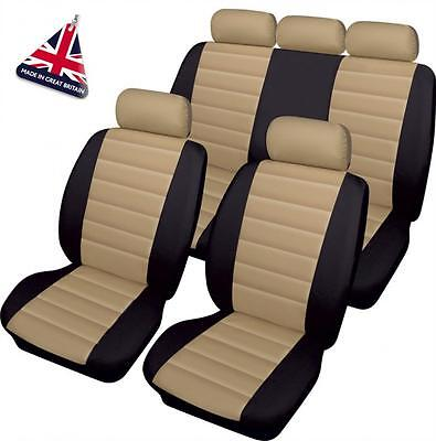 BMW BEIGE/BLACK LEATHER LOOK CAR SEAT COVERS FULL SET 1 2 3 4 Series