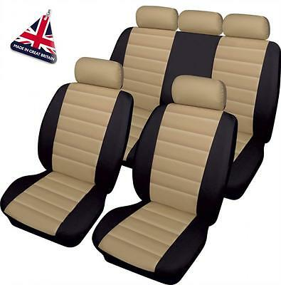FORD BEIGE/BLACK LEATHER LOOK CAR SEAT COVERS FULL SET EcoSport Fiesta Focus