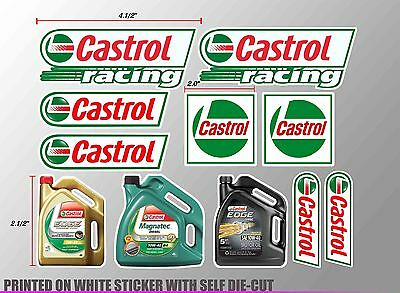 *1 Set Castrol Gallons Oil Auto Lube Racing Decals Sticker Printed Die-Cut Motor