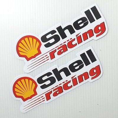 *2Pc. Shell Racing Auto Lube Oil F1 Decals Sticker Printed Die-Cut Motor Bike