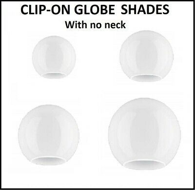 White Glass Globe Lampshades. 5 sizes. No neck. (ball light replacement sphere)