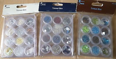 Craftime Trinket Boxes x 3. Sequins, Gems, Beads, Blue, Brown, White x 36 Pots