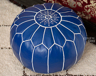 Handmade Moroccan Pouf Genuine Leather Ottoman Footstool Hassock Navy Blue