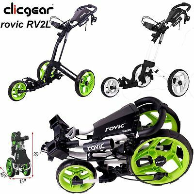 Clicgear 2017 Rovic RV2L Pull/Push 3 -WHEEL Golf Trolley/Cart + FREE GIFT
