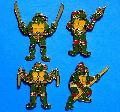Teenage Mutant Ninja Turtles - 4 Vintage Pins Lot - Pinback - Hat Pins