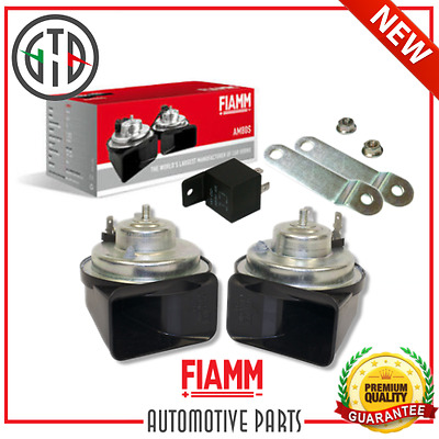 Kit Completo Trombe Clacson Fiamm Camper Am80S 12V + Rele' + Staffe