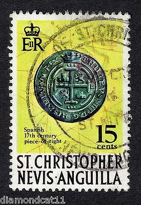 1970 St Christopher & Nevis 15c Piece of Eight SG214 GOOD USED R16889