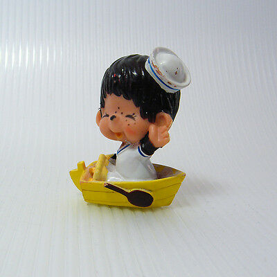 Vintage MONCHHICHI SAILOR in YELLOW ROW BOAT PVC Figure 1979 Sekiguchi