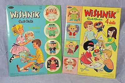 Vintage WISHNIK Cut-Outs PAPER DOLLS  Whitman 1965 & 1966  Uneeda Doll Co LOT 2