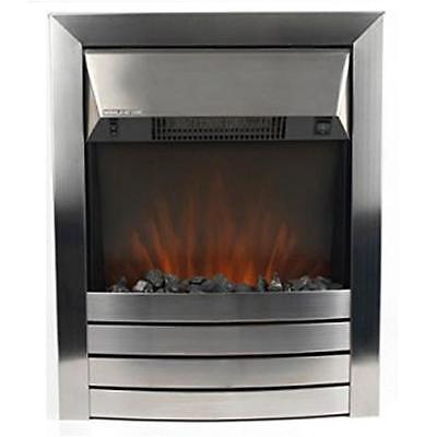 Beldray Contemporary Chrome Inset Electric Fire Coal Led Effect Fireplace Heater