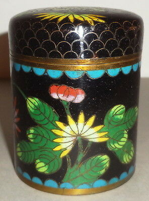 "Antique CHINESE CLOISONNE round TALL PROFUSELY DETAILED FLORAL 3"" TEA BOX - JAR!"