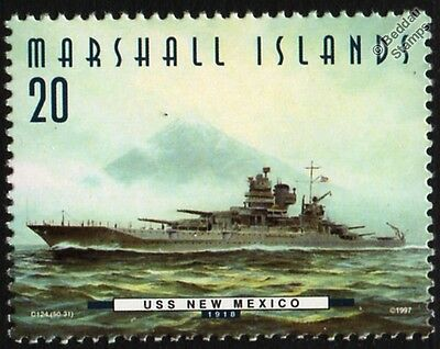 """USS NEW MEXICO (BB-40) """"The Queen"""" Battleship Warship Stamp (1997)"""
