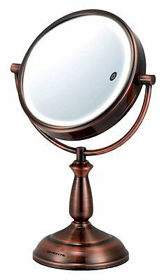 Ovente 8.5 Inch SmartTouch Three Tone LED Makeup Mirror, Tabletop Vanity 1x/10x