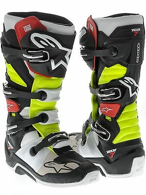 ALPINESTARS Tech 7 Black/Red/Yellow Off Road Boots Free Express Eu Delivery